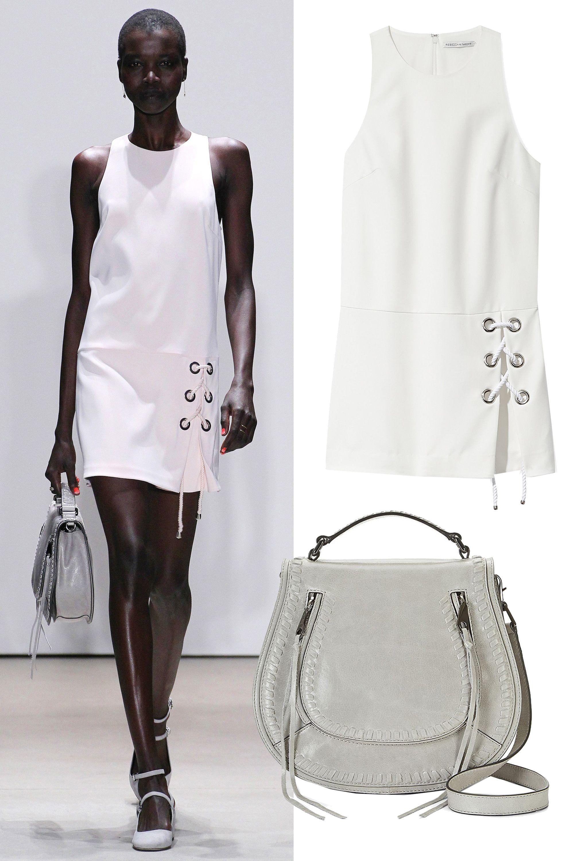 "<p>Rebecca Minkoff Silva Dress, $378; <a href=""http://www.rebeccaminkoff.com/silva-dress"" target=""_blank"">rebeccaminkoff.com</a></p><p>Rebecca Minkoff Vanity Saddle Bag, $395; <a href=""http://www.rebeccaminkoff.com/vanity-saddle-cemento"" target=""_blank"">rebeccaminkoff.com</a></p>"