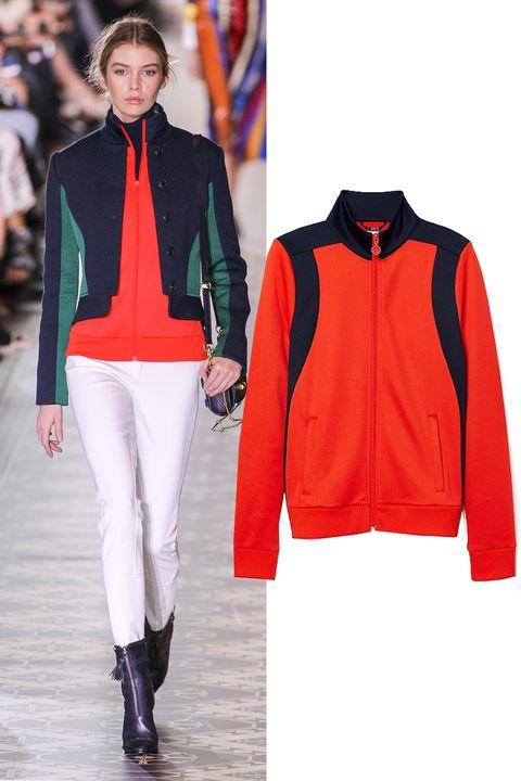 "<p> Tory Burch Color-Block Track Jacket, $165; <a href=""http://www.torysport.com/color-block-track-jacket/17161.html?cgid=shops-runway&start=1&dwvar_17161_color=074&dwvar_17161_size=S"" target=""_blank"">torysport.com</a></p>"
