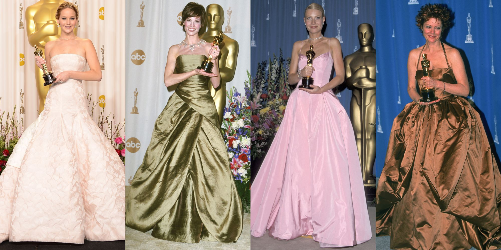 <p><em>Jennifer Lawrence in Dior (2013), Hilary Swank in Randolph Duke (2000), Gwyneth Paltrow in Ralph Lauren (1999), Susan Sarandon in Dolce & Gabbana (1996)</em></p><p>The abundance of taffeta here might make this trend feel dated, but Jennifer Lawrence's 2013 winning ensemble proves the princess ball gown never dies. The Oscars are the red carpet you can go <em>all out</em> on, so if you've got the chance to be crowned top actress, why not indulge your inner royal? </p>