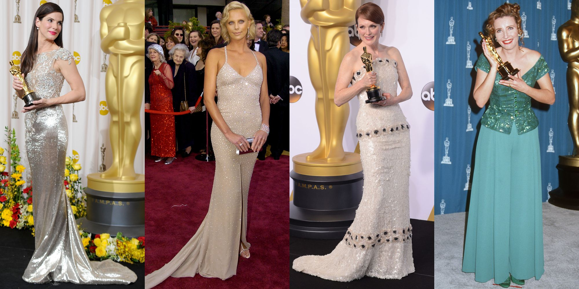 "<p><em>Sandra Bullock in Marchesa (2010), Charlize Theron in Gucci (2004), Julianne Moore in Chanel (2015), Emma Thompson in Caroline Charles (1993)</em></p><p>If there's any time to wear a ""Look at me!""  sparkle bomb of a dress, it's the night you take home the trophy for Best Actress at the Academy Awards. Now is <em>not </em>the time for subtlety–you deserve to be seen. Shine bright like a diamond, y'all.</p>"