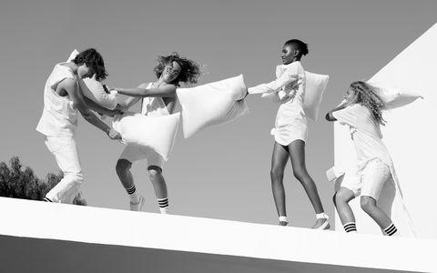 <p>Cotton tank, T by Alexander Wang, $330. Denim jeans,<br> Levi's Made & Crafted, $158. Cotton<br> linen tank, Ports 1961, $125. Cotton denim<br> shorts, Levi's, $58. Calfskin sneakers, Den Im, $400. Cotton dress, Jacquemus,<br> $446. Patent leather flats, Dior, $1,040.<br> Cotton T-shirt, $78, cotton twill shorts, $64,<br> both, Den Im. Cotton socks, all, Stance, $14.</p>