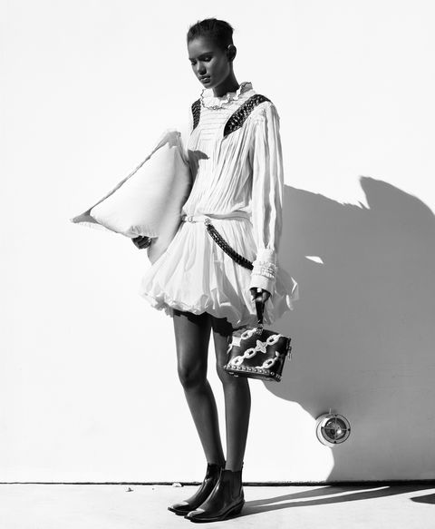 <p>Chiffon, poplin, and leather-detail dress, calfskin handbag, ankle boots, all, Louis Vuitton, prices on request, at select Louis Vuitton stores nationwide.</p>