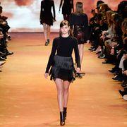 Footwear, Leg, Fashion show, Event, Shoulder, Runway, Joint, Fashion model, Style, Waist,