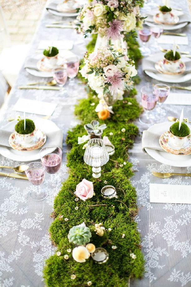 """<p><a href=""""http://www.blovedblog.com/weddings/a-french-forest-fairytale/"""">B.Loved</a>'s magical tablescape proves that fairytale touches, like the tea cups and moss runner sprinkled with flowers and figurines, can be sophisticated and grown-up. </p>"""