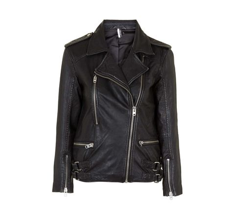 "<p>Editor's note: a very fancy, street style mega-star I know swears by Topshop leather jackets. Trust me when I say that if they're good enough for her, they're good enough for us.<span></span> </p><h5>Distressed Leather Biker Jacket, $360, <a href=""http://us.topshop.com/webapp/wcs/stores/servlet/ProductDisplay?catalogId=33060&storeId=13052&productId=22107727&langId=-1"" target=""_blank"">topshop.com</a>.</h5>"