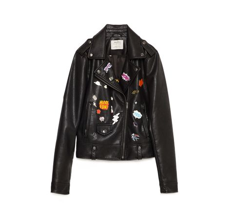 "<p>Like your moto jackets with lots of bells and whistles? Zara has you covered (pun intended).<span></span></p><h5>Faux Leather Badge Jacket, $129, <a href=""http://www.zara.com/us/en/woman/leather/view-all/faux-leather-badge-jacket-c813526p3205014.html"">zara.com</a>.</h5>"