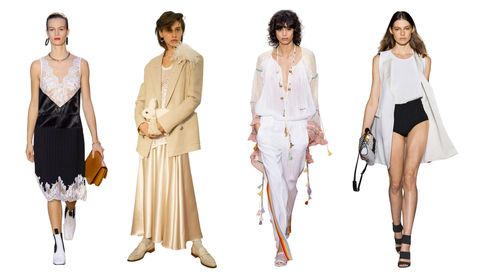 """<p><em>Céline, Hillier Bartley, Chloé, Les Copains</em></p><p>""""In my everyday life, I tend to wear structured, boyish shapes. But this season, I'm gravitating toward the new, feminine softness of pastel separates and soft fabrics. Céline's ethereal take on the slipdress (shown) will be my starting point.""""</p>"""