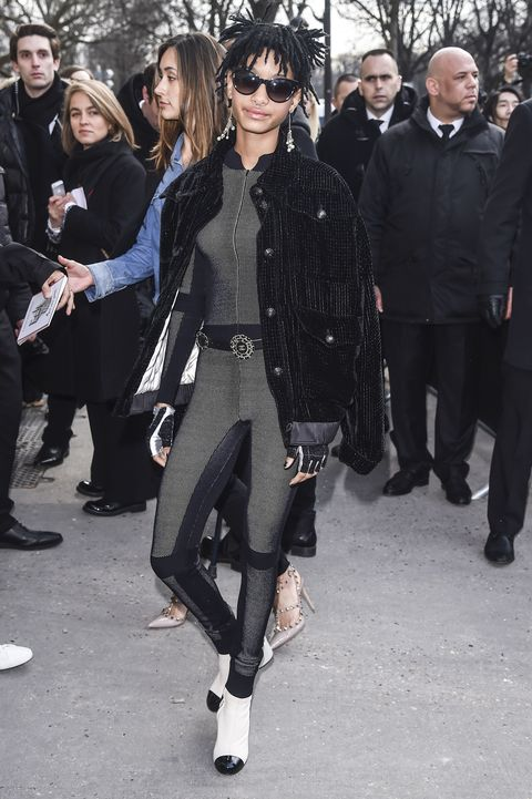 <p>Who: Willow Smith </p><p>When: March 08, 2016</p><p>Why: Willow showed up to the Chanel show in a capital-L look this week. Wearing the designer label head-to-toe, the outfit consisted of a full bodysuit, a beaded velvet jacket, and loads of accessories. </p>