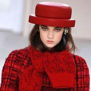 Clothing, Lip, Sleeve, Shoulder, Plaid, Red, Textile, Pattern, Hat, Tartan,