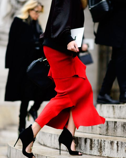 Clothing, Footwear, Leg, Shoe, Human leg, Red, Joint, Outerwear, Style, High heels,