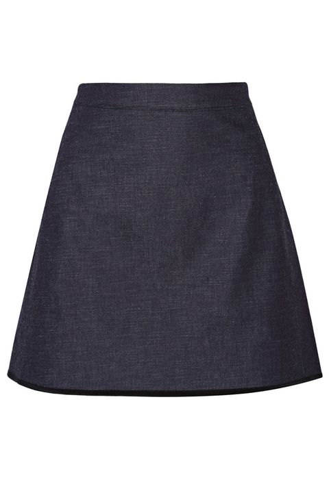 "<p> Victoria, Victoria Beckham Silk-Trimmed Stretch-Denim Mini Skirt, $345; <a href=""https://www.net-a-porter.com/us/en/product/648061/Victoria,_Victoria_Beckham/silk-trimmed-stretch-denim-mini-skirt"" target=""_blank"">net-a-porter.com</a></p>"
