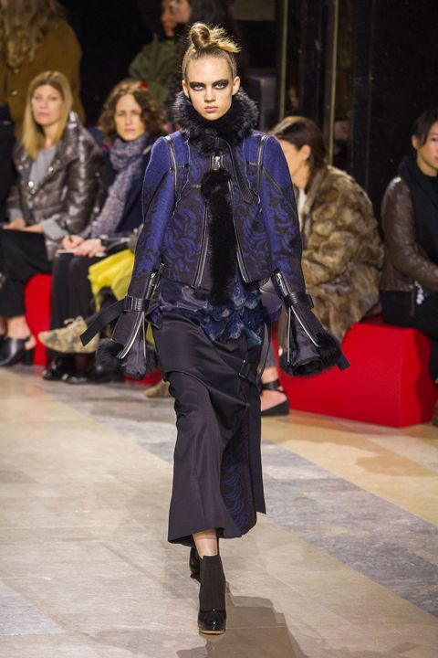 Clothing, Footwear, Face, Human, Textile, Outerwear, Jacket, Fashion show, Winter, Style,