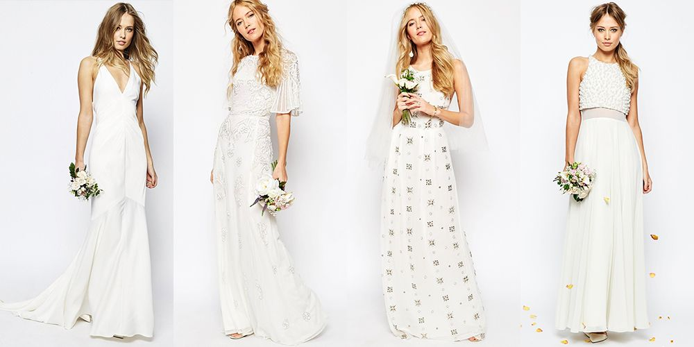 "<p>ASOS' spanking new wedding shop features multiple designers, but we're partial to their in-house collection. The racerback dress above with the modern, beaded bodice is only $161. You read that right. You can get a chic wedding dress for less than the pair of sensible heels you <em>should </em>be wearing on your wedding day. </p><p><em><span></span>ASOS Collection Wedding Dresses, $161-$255; <a href=""http://us.asos.com/search/bridal?q=bridal&refine=attribute_900:attributeitem_1465%7Cbrand:brand_53&currentpricerange=10-595&pgesize=36"">asos.com</a><br><br> </em><em></em><br></p>"