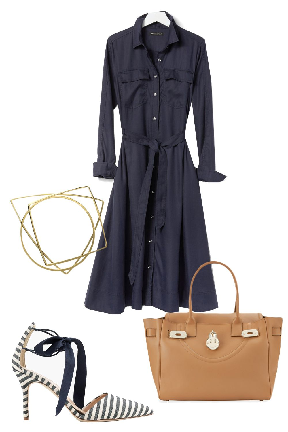 "<p>After the weekend, there's no better way to approach the beginning of the week than with a shirtdress. They were essentially <em>made </em><span class=""redactor-invisible-space"">for Mondays. All you need to do is add accessories to the easy one-and-done item. <span class=""redactor-invisible-space""></span></span></p><p>Banana Republic Midi Shirtdress, $138; <a href=""http://bananarepublic.gap.com/browse/product.do?cid=1038594&vid=1&pid=183925002"" target=""_blank"">bananarepublic.com</a></p><p><a href=""http://bananarepublic.gap.com/browse/product.do?cid=1038594&vid=1&pid=183925002"" target=""_blank""></a>Hill & Friends Happy Handbag, £1,295; <a href=""https://www.hillandfriends.com/shop/happy-handbag-toffee-gold/"" target=""_blank"">hillandfriends.com</a></p><p><a href=""https://www.hillandfriends.com/shop/happy-handbag-toffee-gold/"" target=""_blank""></a>J. Crew Elsie Bow-Tie Pumps, $278; <a href=""https://www.jcrew.com/womens_category/shoes/pumpsandheels/PRDOVR~E7258/E7258.jsp"" target=""_blank"">jcrew.com</a></p><p>By Malene Birger Figuree Bangles, £95; <a href=""http://www.bymalenebirger.com/gb/jewellery/figuree-bangles-Q57095029.html?cgid=Wc1364786&dwvar_Q57095029_color=002&dwvar_Q57095029_size=ONE#!start=4"" target=""_blank"">bymalenebirger.com</a><br></p>"