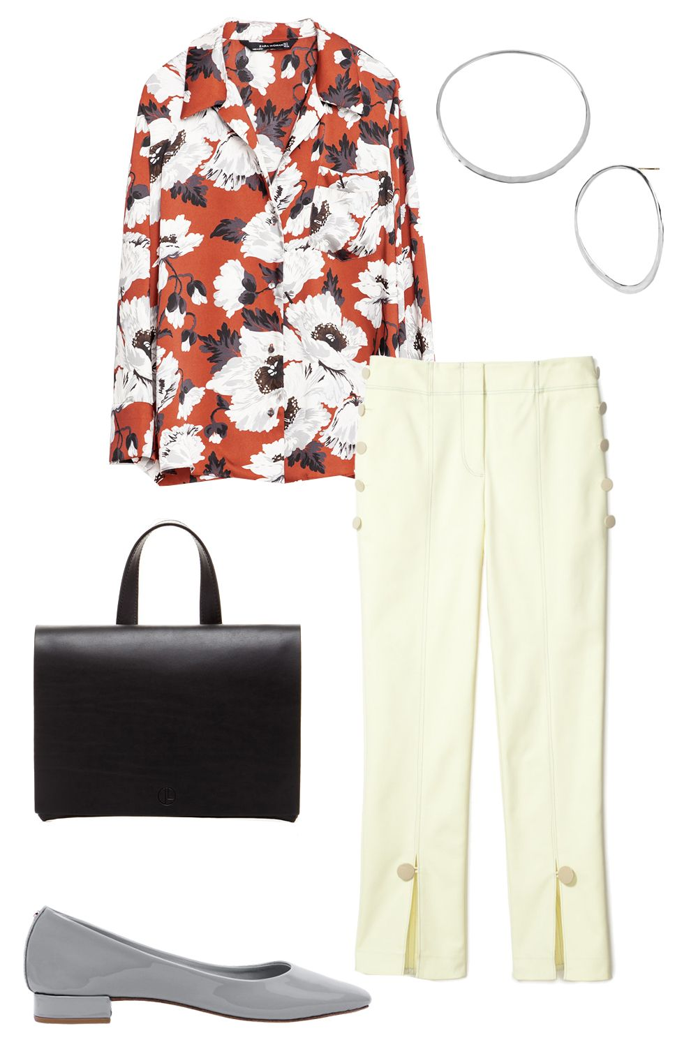 "<p>Cropped slacks and a button down is a classic combo for the workplace, so take the outfit to the next level with a printed pajama shirt and detailed trousers. Simple accessories like hoop earrings and ballet flats finish off your look.</p><p>Zara Printed Pajama Style Blouse, $70; <a href=""http://www.zara.com/us/en/woman/tops/florals/printed-pajama-style-blouse-c718513p3305079.html"" target=""_blank"">zara.com</a></p><p>Robert Lee Morris 3"" Forward Facing Hoop, $300; <a href=""http://www.robertleemorris.com/Product/1113?dept=1047#.Vt7OQZM3jA4"" target=""_blank"">robertleemorris.com</a></p><p>Trademark Front Slit Pant, $348; <a href=""http://www.trade-mark.com/front-slit-pant.html?___store=default"" target=""_blank"">trade-mark.com</a></p><p>Repetto Danse Ballerina, $340; <a href=""http://www.repetto.com/us/danse-ballerina-dove-grey-patent-leather-v1727v-1025.html"" target=""_blank"">repetto.com</a></p><p>Janessa Leone Grace Clutche, $230; <a href=""http://janessaleone.com/collections/leather-goods/products/grace"" target=""_blank"">janessaleone.com</a></p>"