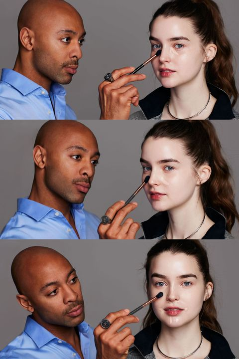 "<p>They don't call an overnight flight a red-eye for nothing. To camouflage dark circles, broken capillaries, ruddiness, and other signs of fatigue in ""high traffic areas"" like the nose, chin, forehead, and under eyes, reach for a warm (i.e., pink or peach) concealer to ""neutralize"" any blue, purple, or green tones. ""The creamier the concealer the better,"" says Sir John. ""It infuses hydration into the skin, which you lose when you fly."" (Try <a href=""http://www.ulta.com/ulta/browse/productDetail.jsp?productId=VP10393"" target=""_blank"">L'Oréal Paris True Match Super Blendable concealer</a>.) You can blend the pigment gently with your ring finger or a small fluffy brush, but skip pressed powder, which can ""weigh down"" the thin, delicate skin below eyes. </p><p>Another tip from the pro: don't recline. ""Even if you happen to be in business class, take a note from your coach brothers and sisters and make sure your head is elevated to reduce swelling in your face,"" says Sir John. </p>"