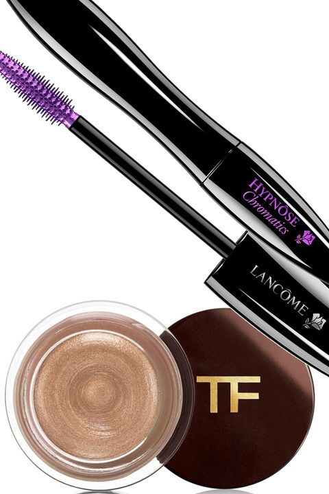 """<p>If your dark brown eyes have even a pinch of a warm, golden undertone, you can count on gold shadow to bring it out and make them sparkle. Purple is your most flattering contrast shade for the lashes; go for ultraviolet to really electrify things, or play it subtle and earthy with a deep eggplant. </p><p><strong>Tom Ford </strong>Crème Color for Eyes in Opale, $45, <a href=""""http://www.tomford.com/cream-color-for-eyes/T43R.html?dwvar_T43R_color=OPALE""""><u>tomford.com</u></a>; <strong>Lancôme </strong>Hypnôse Chromatics Mascara Top Coat in Amethyste, $28, <a href=""""http://www.lancome-usa.com/Hypn%C3%B4se-Chromatics/2000453,default,pd.html?utm_medium=cse_feed&utm_campaign=Makeup_Shop_by_Collection_NEW!_-_Parisian_Pop_Collection&utm_source=google&utm_content=Hypn%C3%B4se_Chromatics&cm_mmc=cse_feed-_-Makeup_Shop_by_Collection_NEW!_-_Parisian_Pop_Collection-_-google-_-Hypn%C3%B4se_Chromatics&LGWCODE=2000453;106713;6271&gclid=CjwKEAiA04S3BRCYteOr6b-roSUSJABE1-6BENXjKxSsKOAs3MvKTmnyaxF-mUzU-N9rOftcltjgkRoC5T_w_wcB"""" target=""""_blank"""">lancome-usa.com</a>. <span class=""""redactor-invisible-space""""></span></p>"""