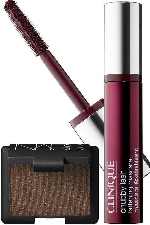 """<p>A brown shadow with shimmer flecks will bring out the lighter tones in the eyes and add a rich, earthy element. And because green and red are complementary colors on the color wheel, you can be sure that anything from a reddish plum to a burgundy wine shade of mascara will enhance your look. </p><p><strong>NARS</strong> Shimmer Eyeshadow in Galapagos, $25, <a href=""""https://www.narscosmetics.com/USA/galapagos-shimmer-eyeshadow/0607845020608.html"""" target=""""_blank"""">narscosmetics.com</a>; <strong>Clinique </strong>Chubby Lash Fattening Mascara in Bodacious Black Honey, $17, <a href=""""http://www.sephora.com/chubby-lash-fattening-mascara-P398905?skuId=1711654&browserdefault=true&om_mmc=ppc-GG&mkwid=sXoZ24xbx&pcrid=49113162399&pdv=c&site=_search&country_switch=&lang=en&gclid=Cj0KEQiAsP-2BRCFl4Lb2NTJttEBEiQAmj2tbZSWXIxXJiBevRgOm6IXZfGh7ULOUOpdQISQUBnk5uoaAjyg8P8HAQ""""><u>sephora.com</u></a>.</p>"""