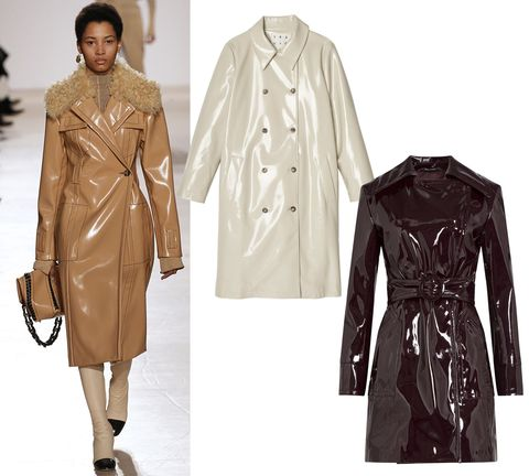 "<p> Trademark Patent Trench Coat, $240; <a href=""http://www.trade-mark.com/patent-trench-coat.html?___store=default"" target=""_blank"">trade-mark.com</a></p><p>Maison Margiela Patent Trench Coat, $1,402; <a href=""http://www.stylebop.com/product_details.php?id=627352&special=sale"" target=""_blank"">stylebop.com</a></p>"