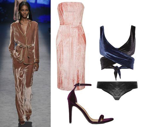 "<p>Topshop Mayal Midi Dress, $435; <a href=""http://us.topshop.com/en/tsus/product/rmayall-midi-4931276?bi=20&ps=20"" target=""_blank"">topshop.com</a></p><p>Lisa Marie Fernandez Marie-Louis Bikini, $365; <a href=""https://www.net-a-porter.com/us/en/product/651838/Lisa_Marie_Fernandez/marie-louise-two-tone-velvet-wrap-bikini"" target=""_blank"">net-a-porter.com</a></p><p>Nasty Gal Ivy Velvet Heel, $78; <a href=""http://www.nastygal.com/product/nasty-gal-ivy-velvet-heel"" target=""_blank"">nastygal.com</a></p>"