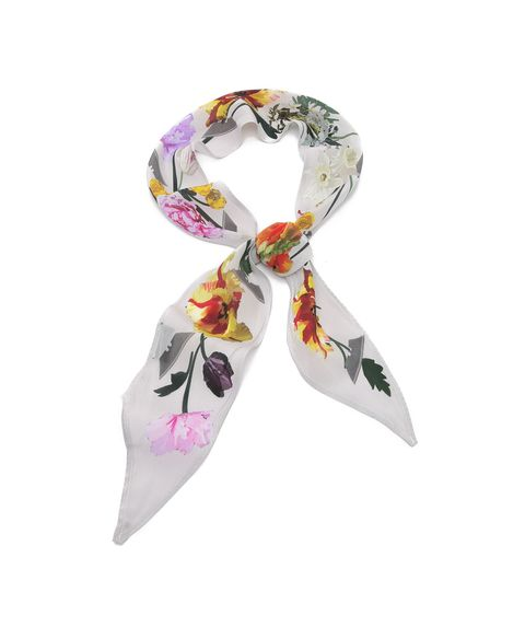 """<p>Skinny, silken scarves are everywhere at the moment. Wear this one like you would wear a statement necklace—it will look great with a shirt or a light sweater.</p><h5>Super Skinny Flora Silk Scarf by Rockins, $145, <a href=""""https://www.shopbop.com/super-skinny-flora-scarf-rockins/vp/v=1/1530556646.htm?folderID=2534374302062834&fm=other-viewall&os=false&colorId=13149"""" target=""""_blank""""><u>shopbop.com</u></a>.</h5>"""