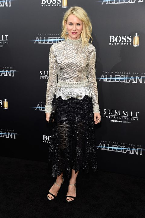 <p>Who: Naomi Watts</p><p>When: March 14, 2016</p><p>Why: Naomi Watts went for a low-key glam look at the <em>Allegiant </em>premiere in subtle yet sparkly Derek Lam. She accessorized like a pro with Solange Azagury-Partridge jewelry, Giuseppe Zanotti heels, and a Lee Savage clutch. </p>