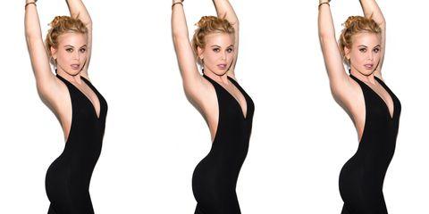Hairstyle, Shoulder, Joint, Fashion, Eyelash, Neck, Blond, Waist, Model, Fashion model,