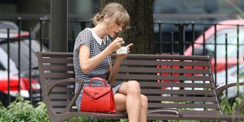 Sitting, Human leg, Summer, Bag, Bench, Outdoor furniture, Street fashion, Lap, Spring, Blond,