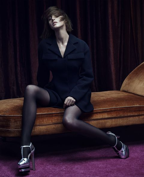 <p><em><em>Double-face wool crepe jacket, Dior, $3,264, at Dior boutiques nationwide. Nylon and elastane tights, Wolford, $57. Gold-finish metal, enamel, and crystal ring, $440, metallic leather pumps, $990, all, Gucci. Cabochon, sapphire, and ruby ring, Fred Leighton, price on request.</em><br></em></p><p><br></p>