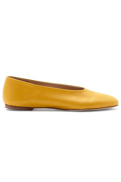 Brown, Yellow, Amber, Tan, Orange, Beige, Dress shoe, Ballet flat, Leather,