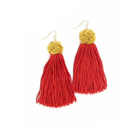 """<p>We love the woven elements atop these crimson stunners. They're inherently glamorous, but the detailing on top makes them extra special.</p><h5>Astrid Knotted Tassel Earrings by Vanessa Mooney, $40, <a href=""""https://www.shopbop.com/astrid-knotted-tassel-earrings-vanessa/vp/v=1/1563635435.htm?fm=search&os=false"""" target=""""_blank""""><u>shopbop.com.</u></a></h5>"""