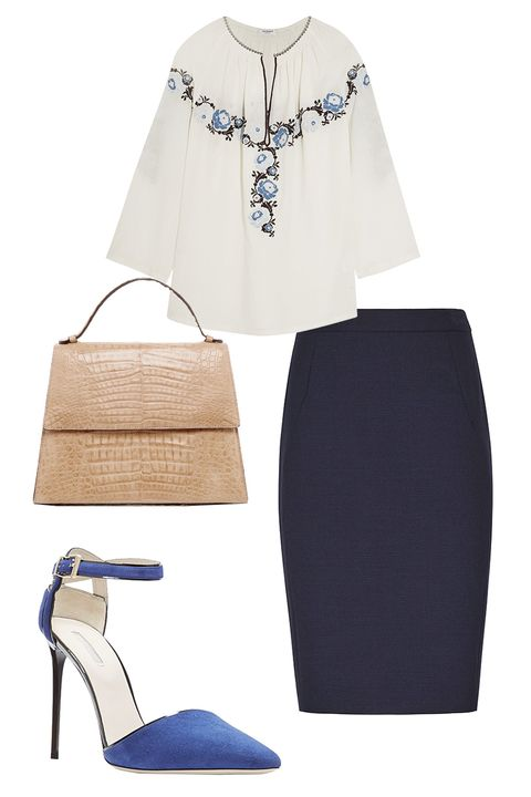 "<p>To incorporate the boho trend for work, go for an embroidered peasant blouse and tuck it into a pencil skirt. Style it with decidedly serious pumps to offset the casual top.<br> </p><p><em>Vilshenko Vassi Embroidered Cotton-Twill Blouse, $680; <a href=""https://www.net-a-porter.com/us/en/product/651191/Vilshenko/vassi-embroidered-cotton-twill-blouse"" target=""_blank"">net-a-porter.com</a></em> </p><p><em>Reiss Seville Skirt, $195; <a href=""https://www.reiss.com/us/p/tailored-pencil-skirt-womens-seville-in-navy/?category_id=1127"" target=""_blank"">reiss.com</a></em> </p><p><em>Giorgio Armani Piped d'Orsay Ankle Strap Pointed Pumps, $770; <a href=""http://www1.bloomingdales.com/shop/product/giorgio-armani-piped-dorsay-ankle-strap-pointed-pumps?ID=1549958&CategoryID=17397#fn=ppp%3D180%26spp%3D61%26sp%3D1%26rid%3D%26spc%3D471%26pn%3D1"" target=""_blank"">bloomingdales.com</a></em> </p><p><em>Hunting Season Crocodile Leather Top Handle Bag, $2,300; </em><a href=""https://www.modaoperandi.com/hunting-season-ss16/crocodile-leather-top-handle-bag"" target=""_blank""><em>modaoperandi.com</em></a></p>"