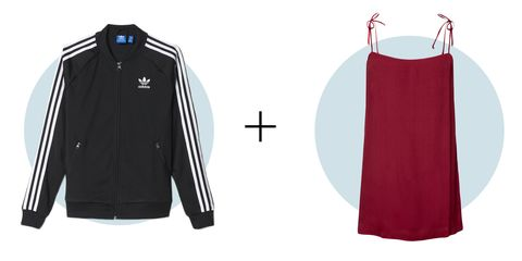 "<p>If you're feeling uneasy about the slip dress trend, ease into it with a track jacket layered on top. It covers up the sexy slip in a modern, sporty way. </p><p><em>Adidas Supergirl Track Jacket, $70; <a href=""http://www.adidas.com/us/supergirl-track-jacket/AJ8428.html"" title=""http://www.adidas.com/us/supergirl-track-jacket/AJ8428.html Cmd+Click or tap to follow the link"">adidas.com</a></em></p><p><em>Reformation Feliz Dress, $98; <a href=""https://www.thereformation.com/products/feliz-dress-black"" target=""_blank"">thereformation.com</a></em></p>"
