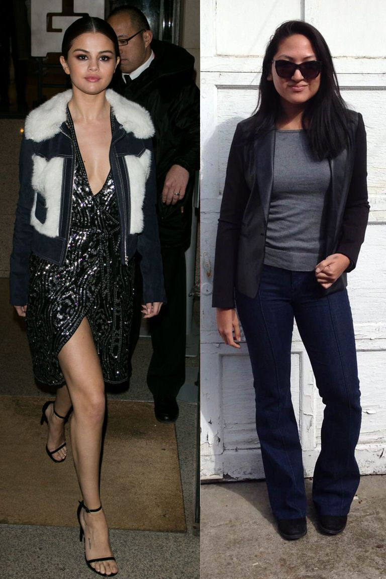 """<p>Okay, so this is the most different-from-Selena's-outfit outfit I pulled together, but bear with me. As we can see from the get-go, Selena (glamorous in Rodarte x & Other Stories, weather-immune, equipped with a <a href=""""https://www.instagram.com/chrisclassen/"""" target=""""_blank"""">stylist</a>) and I (none of the above) do not exist in the same world. Selena may wear designer sweatpants to fly (as we'll see later in this post), but I've always been barraged with #airportstyle tips constantly urging the need for a blazer <em>at least</em>, because, WHAT IF YOU MEET SOMEONE ON THE PLANE? So I went that route for Look 1. Turns out, I met no one. But, my roomy flare jeans at least proved to be very comfy for the 7-hour flight.</p>"""