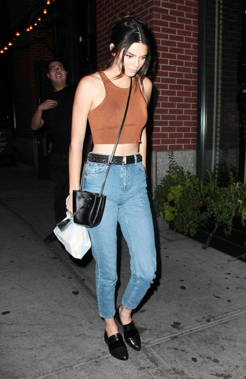 <p>Spotted in New York's Soho neighborhood, Jenner rocked a brown tank and brogues with her jeans. This is the kind of look that would work for a casual dinner with the family.  </p>