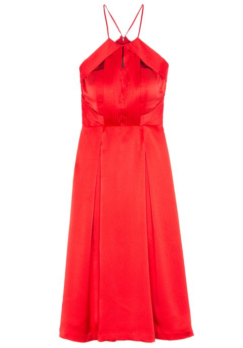 Clothing, Sleeve, Collar, Dress, Textile, Red, One-piece garment, Formal wear, Orange, Pattern,