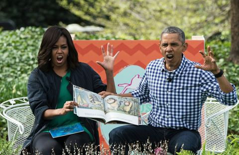 The Obamas read 'Where the Wild Things Are' on the White House Lawn.