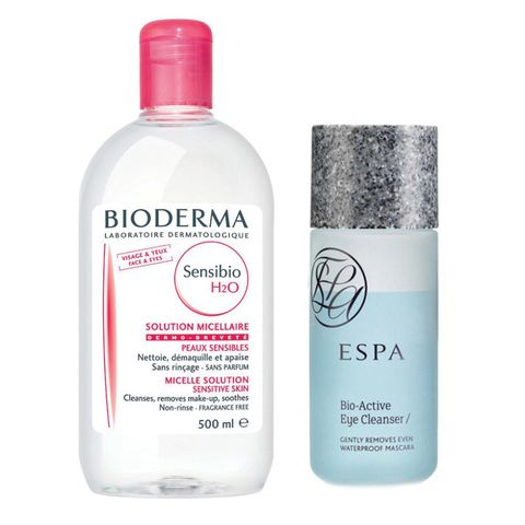 "<p>""To take off makeup, I use [Bioderma] Crealine and ESPA for eyes.""</p><p><em>Bioderma Sensibio H20, $20; </em><a href=""http://www.beautylish.com/s/bioderma-sensibio-h2o-500-ml"" target=""_blank""><em>Buy it now</em></a> </p><p><em>ESPA Bio-Active Eye Cleanser, $40; <a href=""http://us.espaskincare.com/bio-active-eye-cleanser/?GIP_IGN=1"" target=""_blank"">Buy it now</a><br></em></p><p><br></p>"