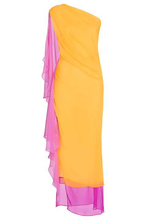 Pink, Magenta, Orange, Costume accessory, Costume, Satin, Silk, Shawl, High-visibility clothing, Day dress,