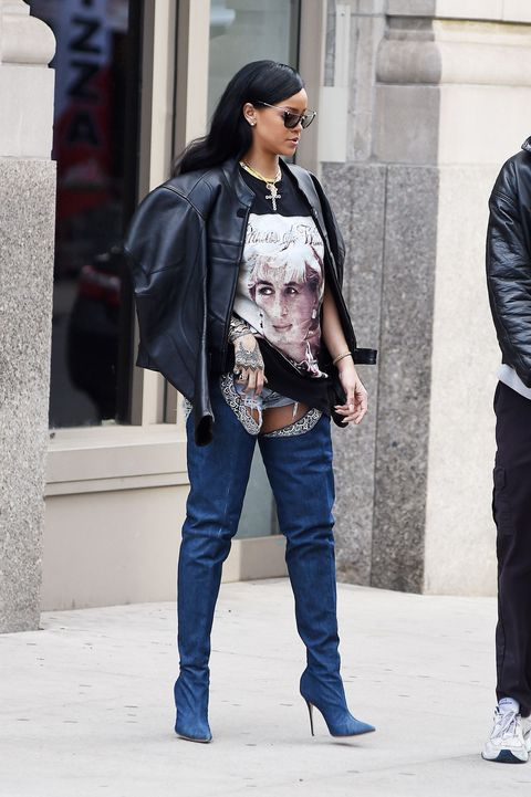 """<p>Her thigh-high Manolo Blahnik boots&nbsp;(which, you might recall,&nbsp;ELLE.com editors <a href=""""http://www.elle.com/fashion/celebrity-style/news/a35331/rihanna-manolo-blahnik-boots/"""">tried for themselves</a>)&nbsp;cost $3,995. The financial and aesthetic chutzpah of this footwear&nbsp;proves that, honestly, Rihanna DGAF about&nbsp;<em data-verified=""""redactor"""" data-redactor-tag=""""em"""">you.&nbsp;</em><span class=""""redactor-invisible-space"""" data-verified=""""redactor"""" data-redactor-tag=""""span"""" data-redactor-class=""""redactor-invisible-space""""></span></p>"""