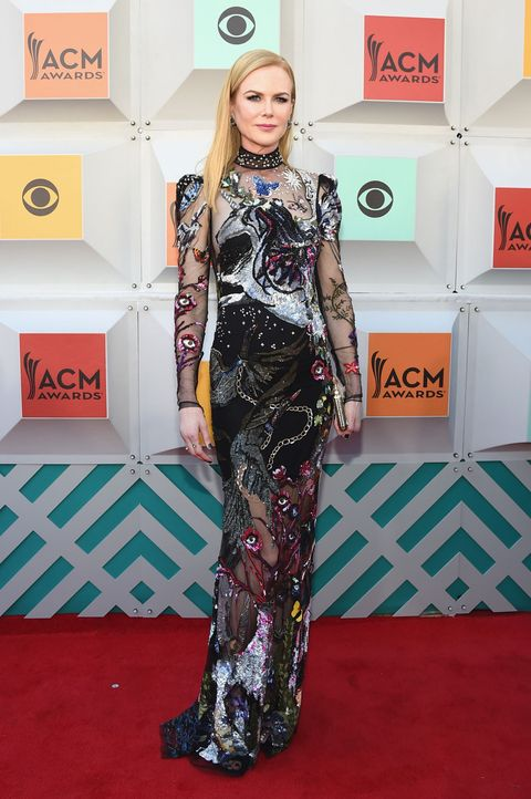 "<p>Who: Nicole Kidman</p><p>When: April 3, 2016<br></p><p>Why: Kidman supported her husband at the Academy of Country Music Awards Red Carpet this week, but she stole the show in Alexander McQueen's fantasy-driven take on <a href=""http://www.elle.com/fashion/celebrity-style/news/g26/naked-dress-celebs-red-carpet/"">the naked dress</a>. Who wouldn't want to wear an embellished unicorn gown? </p>"