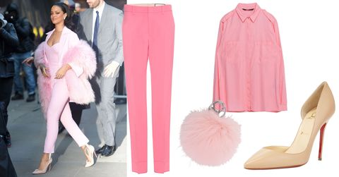 "<p>Who says pink can't work for the office? Rihanna and Elle Woods have assured us that that the hue can and should be taken seriously. Try Rihanna's streamlined bubblegum pink look (look for tailored separates in dressy fabrics). But maybe skip swathing yourself in a fur stole in the middle of spring and attach a fun fur keychain to your purse instead.<em></em></p><p><em>Gucci Wool and Silk  Trouserse, $890; <a href=""http://www.mytheresa.com/en-us/wool-and-silk-trousers-552370.html?catref=category"" target=""_blank"">mytheresa.com</a></em></p><p><em>Zara Neon Shirt, $40; <a href=""http://www.zara.com/us/en/woman/tops/view-all/neon-shirt-c719021p3468522.html"" target=""_blank"">zara.com</a></em></p><p><em>Adrienne Landau Fur Pom Pom Key Chain, $45; <a href=""http://www.barneys.com/Adrienne-Landau-Fur-Pom-Pom-Key-Chain-504187214.html?gclid=CMruttuJ9csCFUkkhgodsr8GgA"" target=""_blank"">barneys.com</a></em></p><p><em>Christian Louboutin iriza Half-d'Orsay Pump, $675; </em><a href=""http://www.neimanmarcus.com/Christian-Louboutin-Iriza-Half-d-Orsay-Red-Sole-Pump-Nude-Shoes/prod186430115_cat39620738__/p.prod?icid=&searchType=EndecaDrivenCat&rte=%2Fcategory.jsp%3FitemId%3Dcat39620738%26pageSize%3D120%26No%3D0%26refinements%3D&eItemId=prod186430115&cmCat=product"" target=""_blank""><em>neimanmarcus.com</em></a></p>"