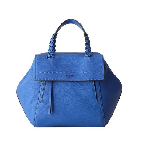 <p>Burch's mini half-moon satchel in the designer's color of choice, Bondi Blue; $495, visit toryburch.com</p>