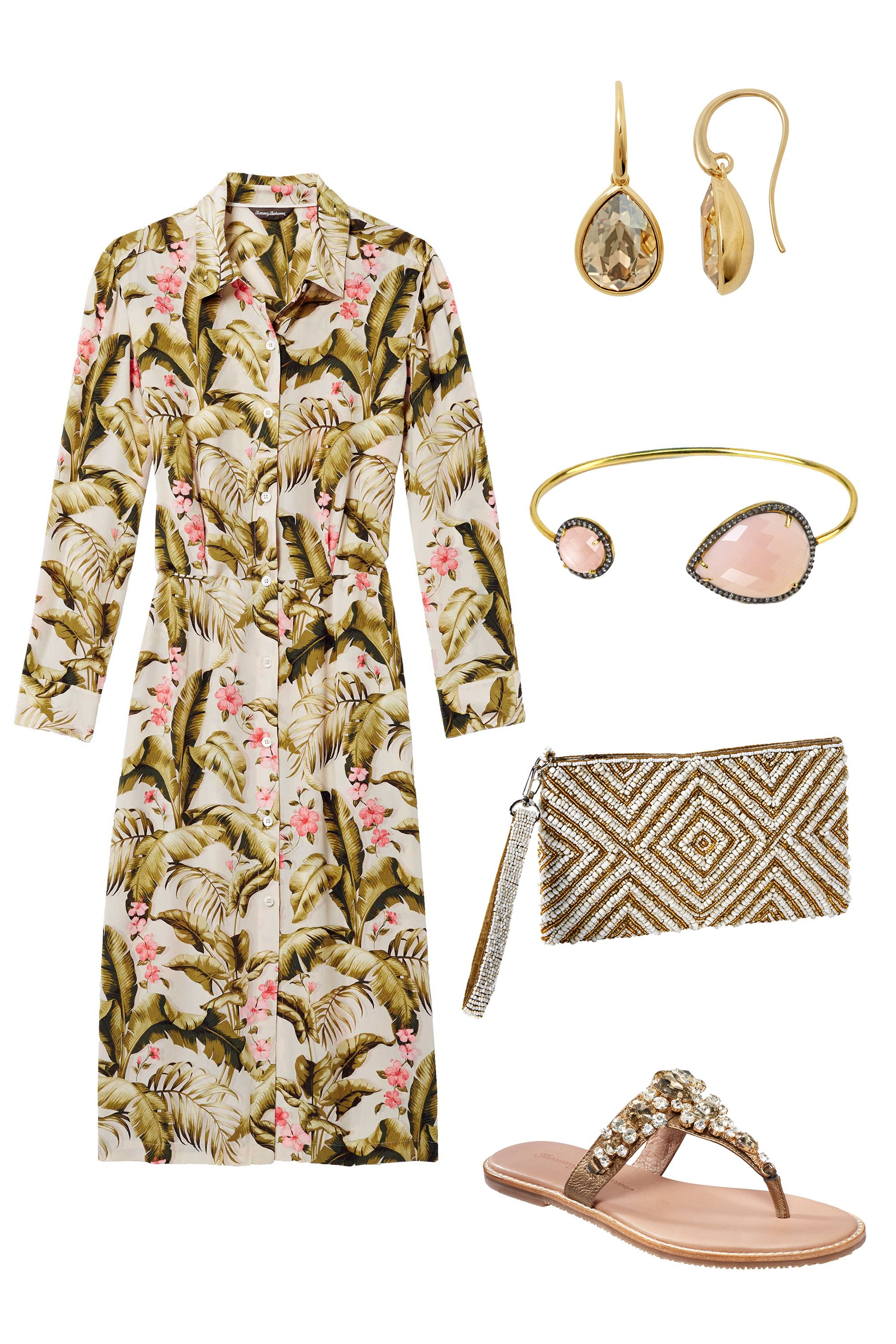 """<p>A floral shirtdress paired with chic thong sandals and delicate accessories ensures you'll celebrate the bride in style.<br> </p><p><br> </p><p><em><em>Tommy Bahama Beau Jardin Silk Shirt Dress, <a href=""""http://www.tommybahama.com/en/Beau-Jardin-Silk-Shirt-Dress/p/TW613255-4015"""" target=""""_blank"""">$298</a>; Gold Teardrop Earrings, <a href=""""http://www.tommybahama.com/en/Gold-Teardrop-Earrings/p/THW74566-11346"""" target=""""_blank"""">$48</a>; Pink Chalcedony Double-Stone Cuff, <a href=""""http://www.tommybahama.com/en/Pink-Chalcedony-Double-Stone-Cuff/p/THW74638-4987"""" target=""""_blank"""">$158</a>; Beaded Diamond Wristlet, <a href=""""http://www.tommybahama.com/en/Beaded-Diamond-Wristlet/p/THW74492-185"""" target=""""_blank"""">$68</a>; <em><em>Yuri Leather Sandals, <a href=""""http://www.tommybahama.com/en/Yuri-Leather-Sandals/p/TFW00209-617"""" target=""""_blank"""">$138</a></em></em></em></em></p>"""