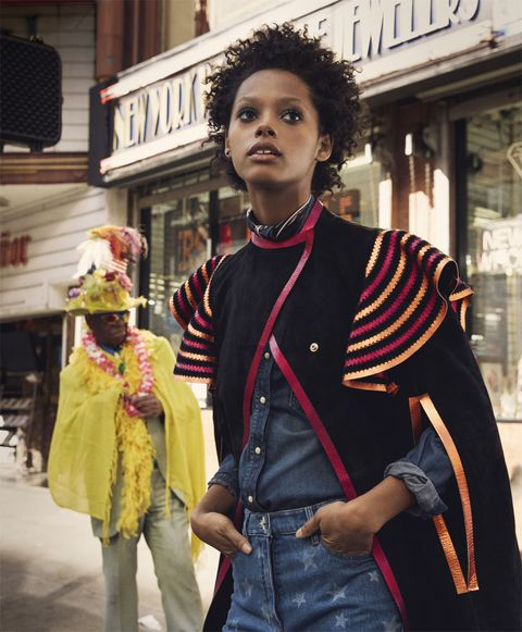 <p>Suede coat, price on request, denim jeans, $1,200, both, Valentino, at Valentino boutiques nationwide. Denim shirt, Diesel, price on request. Silk scarves, both, Rockins London LTD, $128 each. Her own earring, worn throughout.</p>