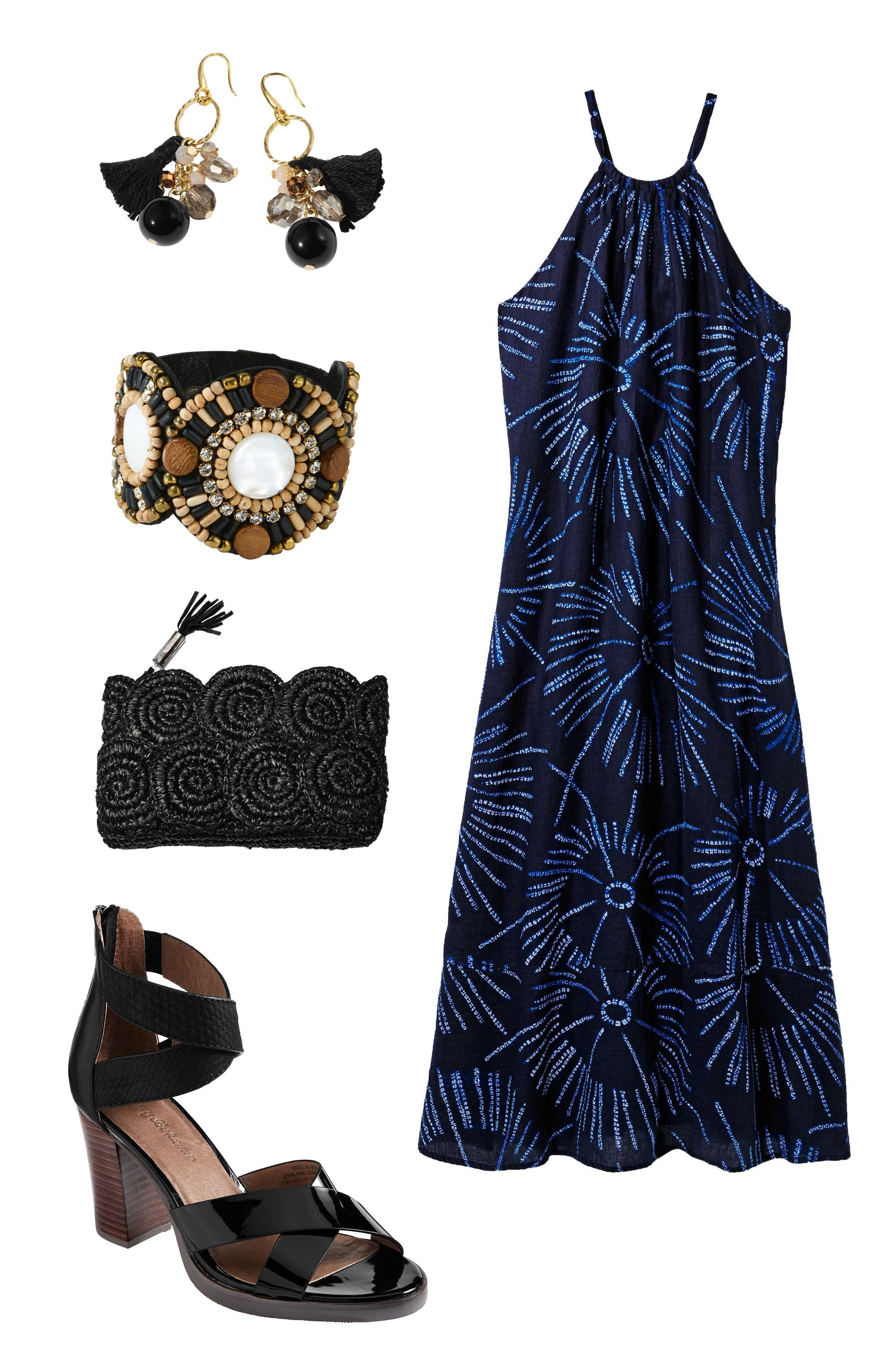 """<p>An evening spent enjoying cocktails on the roof calls for a flirty dress paired with chunky, wearable heels (in case you can't get a seat at the bar).<br></p><p><br></p><p><em></em><em>Tommy Bahama South of France Earrings, <a href=""""http://www.tommybahama.com/en/South-of-France-Earrings/p/THW715568-023"""" target=""""_blank"""">$48</a>&#x3B; Bastille Bursts Linen Halter Dress <a href=""""http://www.tommybahama.com/en/Bastille-Bursts-Linen-Halter-Dress/p/TW613570-5478"""" target=""""_blank"""">$158</a>&#x3B; Lavina Leather Sandals, <a href=""""http://www.tommybahama.com/en/c/en/Lavina-Leather-Sandals/p/TFW00235-023"""" target=""""_blank"""">$148</a>&#x3B; Rio Clutch, <a href=""""http://www.tommybahama.com/en/Rio-Clutch/p/THW745116-023"""" target=""""_blank"""">$138</a>&#x3B; Akiko Cuff, <a href=""""http://www.tommybahama.com/en/Akiko-Cuff/p/THW74168-023"""" target=""""_blank"""">$128</a></em><br></p>"""