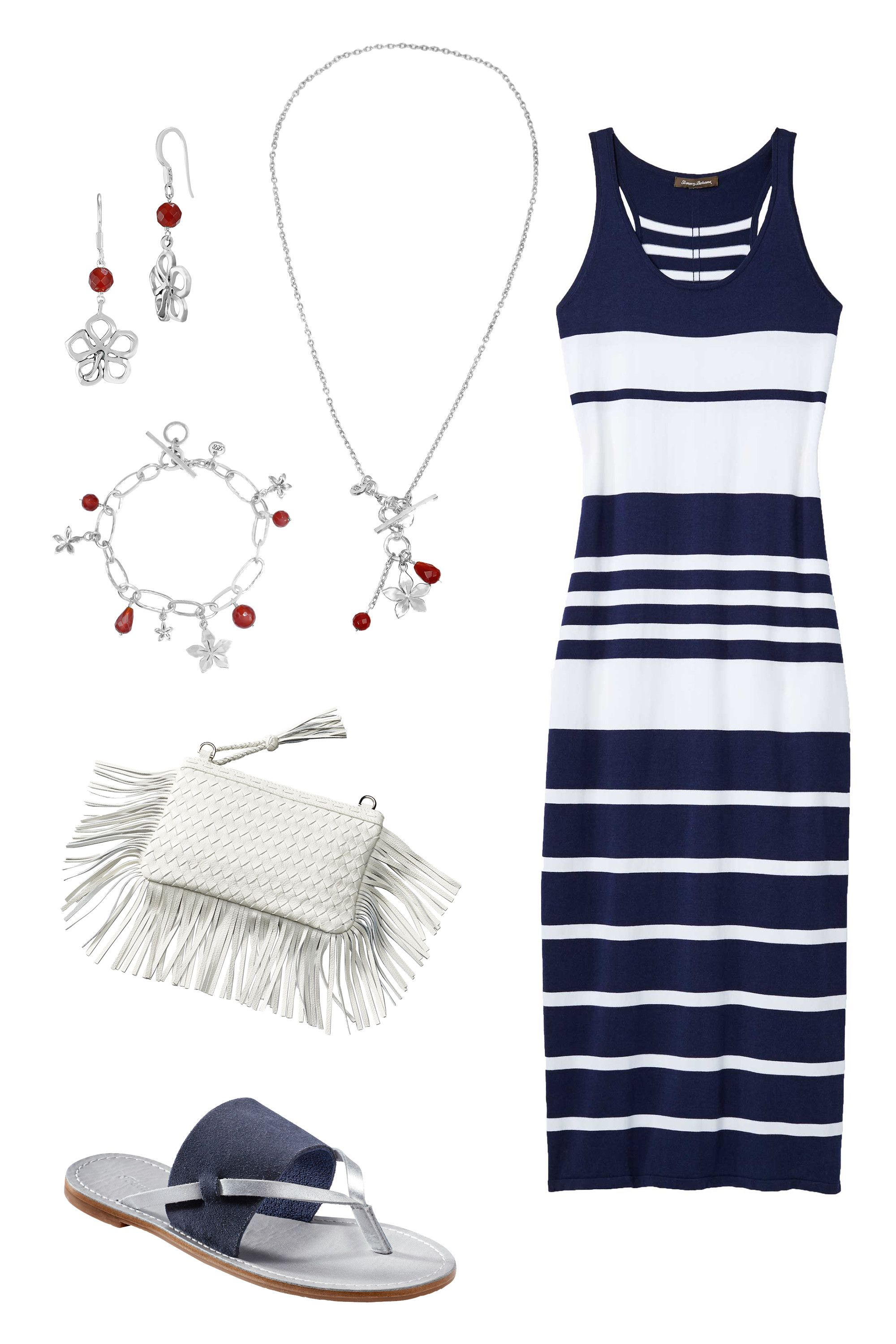 """<p>Nautical stripes are a natural fit for a day by the beach. Add a fringe clutch, navy sandals, and metallic touches for a polished coastal look.<br> </p><p><br></p><p><em></em><em>Tommy Bahama Open Petal Bead Earrings by Lois Hill, <a href=""""http://www.tommybahama.com/en/Open-Petal-Bead-Earrings-by-Lois-Hill/p/TE1286-FH-14398"""" target=""""_blank"""">$118</a>; Flower Bead Cluster Necklace by Lois Hill, <a href=""""http://www.tommybahama.com/en/Flower-Bead-Cluster-Necklace-by-Lois-Hill/p/TN1218-16-14398"""" target=""""_blank"""">$168</a><span class=""""redactor-invisible-space"""">; </span></em><em>Pickford Striped Maxi Dress, <a href=""""http://www.tommybahama.com/en/c/en/Pickford-Striped-Maxi-Dress/p/TW613119-12762"""" target=""""_blank"""">$158</a>; Penelohpe Leather Sandals, <a href=""""http://www.tommybahama.com/en/Penelohpe-Leather-Sandals/p/TFW00206-5824"""" target=""""_blank"""">$88</a>; Fringe Clutch, <a href=""""http://www.tommybahama.com/en/Fringe-Clutch/p/THW744792-033"""" target=""""_blank"""">$138</a>; Open Link Bracelet by Lois Hill, <a href=""""http://www.tommybahama.com/en/Open-Link-Bracelet-by-Lois-Hill/p/TB1082-BR-14398"""" target=""""_blank"""">$198</a><a href=""""http://www.tommybahama.com/en/Open-Link-Bracelet-by-Lois-Hill/p/TB1082-BR-14398""""></a></em><span class=""""redactor-invisible-space""""></span><br></p>"""