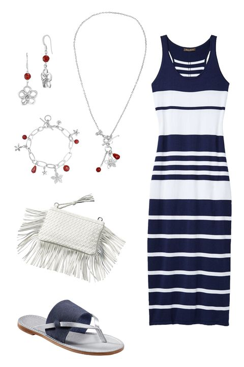 "<p>Nautical stripes are a natural fit for a day by the beach. Add a fringe clutch, navy sandals, and metallic touches for a polished coastal look.<br> </p><p><br></p><p><em></em><em>Tommy Bahama Open Petal Bead Earrings by Lois Hill, <a href=""http://www.tommybahama.com/en/Open-Petal-Bead-Earrings-by-Lois-Hill/p/TE1286-FH-14398"" target=""_blank"">$118</a>; Flower Bead Cluster Necklace by Lois Hill, <a href=""http://www.tommybahama.com/en/Flower-Bead-Cluster-Necklace-by-Lois-Hill/p/TN1218-16-14398"" target=""_blank"">$168</a><span class=""redactor-invisible-space"">; </span></em><em>Pickford Striped Maxi Dress, <a href=""http://www.tommybahama.com/en/c/en/Pickford-Striped-Maxi-Dress/p/TW613119-12762"" target=""_blank"">$158</a>; Penelohpe Leather Sandals, <a href=""http://www.tommybahama.com/en/Penelohpe-Leather-Sandals/p/TFW00206-5824"" target=""_blank"">$88</a>; Fringe Clutch, <a href=""http://www.tommybahama.com/en/Fringe-Clutch/p/THW744792-033"" target=""_blank"">$138</a>; Open Link Bracelet by Lois Hill, <a href=""http://www.tommybahama.com/en/Open-Link-Bracelet-by-Lois-Hill/p/TB1082-BR-14398"" target=""_blank"">$198</a><a href=""http://www.tommybahama.com/en/Open-Link-Bracelet-by-Lois-Hill/p/TB1082-BR-14398""></a></em><span class=""redactor-invisible-space""></span><br></p>"
