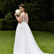 Clothing, Dress, Trousers, Petal, Shoulder, Bridal clothing, Photograph, Gown, Wedding dress, Formal wear,
