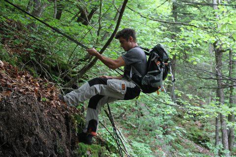 Natural environment, Recreation, Shoe, Rock-climbing equipment, Outdoor recreation, Adventure, Forest, Rope, Climbing harness, Climbing,
